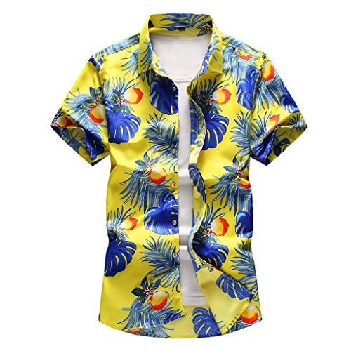 echo4745 Herren Übergröße Hawaii-Hemd T-Shirt 3D Blatt Drucken Kurze Ärmel Männer Sommer Hawaii-Shirt T-Stücke Oberteile Kurzarmshirt Jungen Sport Bluse(XXXXXL,Gelb)