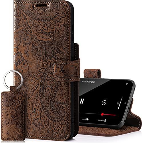 SURAZO Prestige - Funda para Apple iPhone 13 Pro Max, piel auténtica, con función atril, tarjetero, protección RFID, diseño de flores, hecha a mano en la UE (marrón)