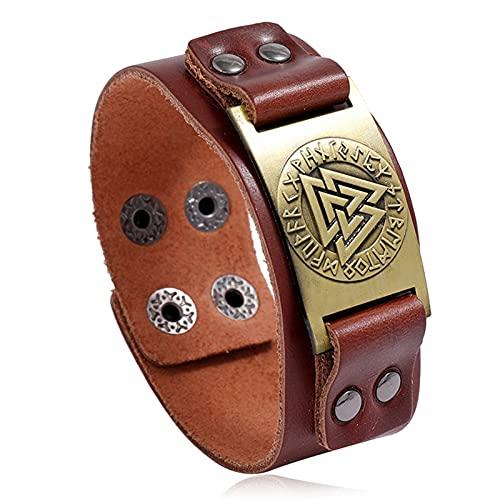 WXJ Punk Vintage brújula brazaletes nórdicos runas símbolo Envoltura Genuina Cuero Vikingo Pulsera para Hombres (Metal Color : 83980)