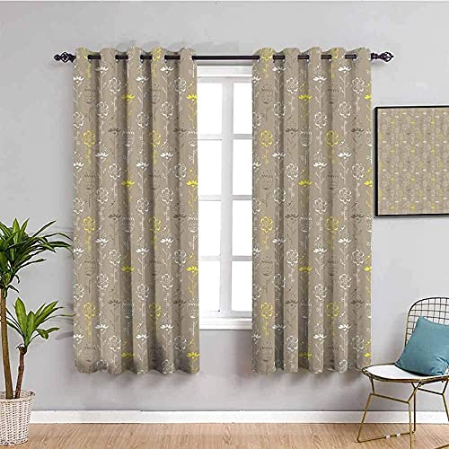 JYDFC Blackout Curtains for Bedroom - 3D Digital Printing - Heat Sound Insulation - Privacy Protection Children's Room Boy Girl Bedroom Room Decoration - 92X54 Inch - Yellow Fashion Plants Flowers