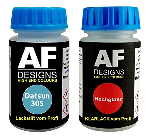 Lackstift für Datsun 305 Light Blue Metallic + Klarlack je 50ml Autolack Basislack Set