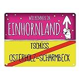 trendaffe - Willkommen im Einhornland - Tschüss Osterholz-Scharmbeck Einhorn Metallschild
