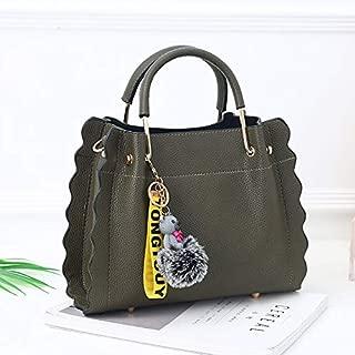 WTYD Single Shoulder Bag Leisure Fashion PU Slant Shoulder Bag Handbag with Bear Plush Ball(Black) (Color : Green)