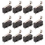 CESFONJER 12 pzas T125 Tipo de palanca de bisagra Interruptor micro en miniatura SPDT Acción instantánea Interruptor de acción rápida para Arduino