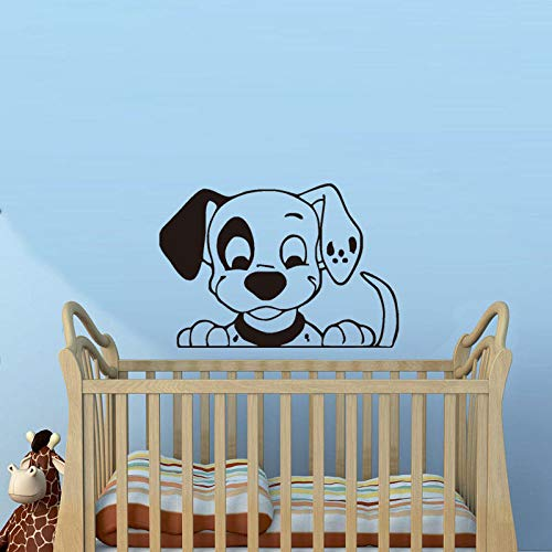Love Puppy Tatuajes de pared para guardería Soptty Dog Etiqueta de la pared para niños Dormitorio Animales lindos Decoración de la pared Mural extraíble Color-1 42x58cm
