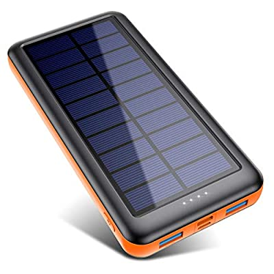 Pxwaxpy Solar Power Bank 26800mAh, Solar Charger ?Type C & Micro USB Input? High Capacity Portable Charger Fast Charge External Battery Pack with 2 Outputs Compatible for Smartphones, Tablets and More