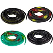 Whaline 4 Pieces Realistic Rubber Snakes, April Fools Day Fake Snakes Green Black Snake Decoration for Garden Props to Scare Birds, Squirrels, Mice, Pranks, Halloween,,Party Decoration (31.5 Inch)