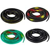 Whaline 4 Pieces Realistic Rubber Snakes, Halloween Fake Snakes Green Black Snake Decoration for Garden Props to Scare Birds, Squirrels, Mice, Pranks, April Fools Day,Party Decoration (31.5 Inch)