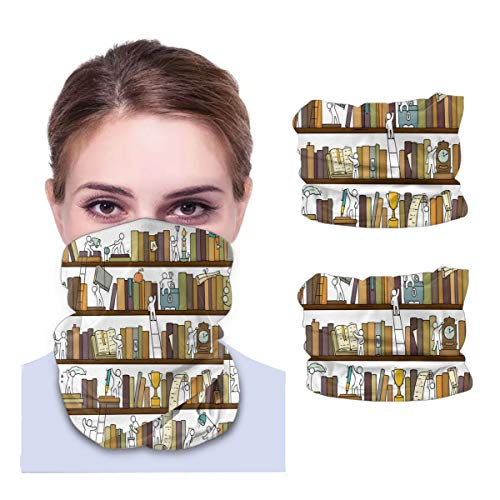 SLHFPX Funny Little People in Library Bookshelf Neck Gaiter Face Mask Set of 2 Bandana Anti-Dust Marks Windproof Neck Warmer for Outdoor Sports