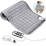 Heating Pad, Electric Fast Heat Pad with 6 Heat Settings, Machine Washable 12' x 24' Electric Heating Pad with Automatic Shut-Off Function, Used to Relieve Waist, Neck, Shoulder Pain and Cramps Relief