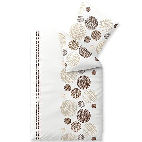 aqua-textil Trend Bettwäsche 135 x 200 cm 2teilig Baumwolle Bettbezug Cleo Punkte Streifen Weiß Braun Beige