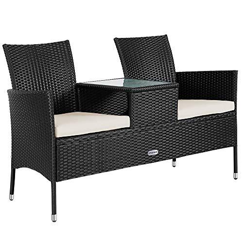 Casaria Poly Rattan Gartenbank 2-Sitzer Tisch In Der Mitte Auflage Wetterfest 143 cm Garten Balkon Kinobank Bank Schwarz