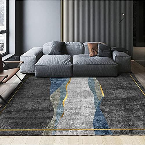 Home Decoracion Alfombra Rectangular de Sala de Estar de Estilo geométrico de Tinta Gris Azul Negro alfombras para baños aspiradora Alfombra 120*200cm