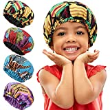 4 Pieces Africa Kids Satin Bonnet Night Sleep Caps Elastic Band Sleep Bonnet Double Layer Sleeping Hats Showering Caps for Toddler Kids Baby