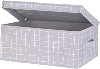 MINISO Classic Grid Large Storage Boxes for Clothes, Blanket Cover Bag, Organizer with Lid (Grey)