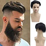 Rossy&Nancy French Lace Front with PU Men's Toupee Man Hairpieces Human Hair Replacement System for Men 8x6inch High Density 1B Black Color