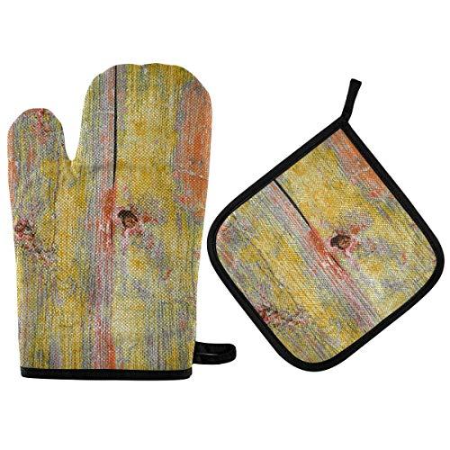 Gokruati Guantes de Horno Guantes de Horno Antideslizante Resistentes al Calor,Pared de Madera Vieja con Una Textura Brillante,Manoplas de Horno,cocinar,Hornear,Barbacoa,Aislamiento Pads