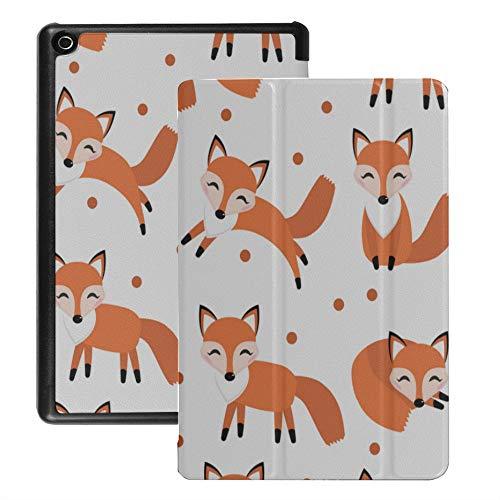 Tablet Cover per Fire Hd 8 Elegante Happy Funny Fox Cover per Kindle Fire Hd 8 (2018 2017 2016 Release, ottava/settima/sesta generazione) con Auto Wake/sleep