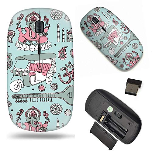 Unique Pattern Optical Mice Mobile Wireless Mouse 2.4G Portable for Notebook, PC, Laptop, Computer - Ganesha Sitar Buddha and taj Mahal Travel Icons of India