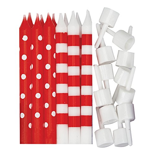 amscan 9902300 Dots & Stripes Red & White Candles(12-Piece) -1 Pack