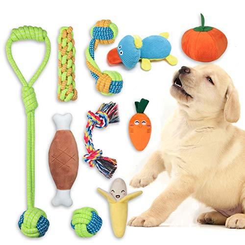 FONPOO Welpenspielzeug eine Kombination aus Fruchtigem Gemüse und Hundeseilspielzeug 10-Teiliges Set Plüsch-Hunde Pielzeug das als Hundegeschenk Verwendet Werden Kann