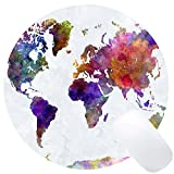 Wknoon Vintage Watercolor World Map Print Art Round Mouse Pad Cute Retro Old Map Circular Mouse Pads Cute Mat