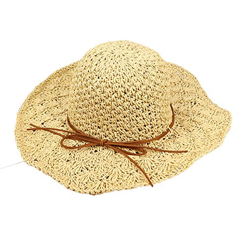 Uesae Sonnenhut Strohhut Bucket Hat Schlapphut Strand faltbar verstellbar für Damen Sommer 56–58 cm, beige, 6 7/8-7 1/8