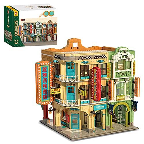 LICI Street View Architettura 4039Pcs MOC Street View, mattoncini da costruzione orientale, stile retrò, set con luci, moduli di montaggio compatibili con Lego