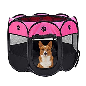 Mile High Life | Portable Cat Dog Crate | Foldable Dog Case Tent | Collapsible Travel Crate | Water Resistant Shade Cover | for Dogs/Cats/Rabbit (Hot Pink, Small-Dia29 H17)