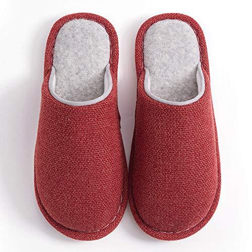 Pantuflas,Zapatillas de casa de Invierno para Mujer, Zapatillas Suaves de Gusano de algodón de Tela de Lino para Hombres y Mujeres, Zapatillas Planas para Interiores-Women A,40