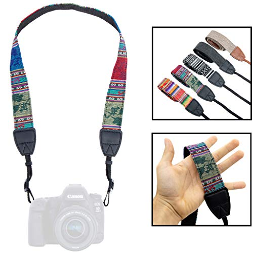 Lens-Aid Kameragurt in schickem Design: Leinen Nacken- BZW. Schultergurt geeignet für Kameras von Canon, Nikon, Sony, Fujifilm, Olympus, Leica etc.