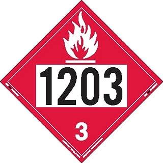 Labelmaster ZEZ21203 UN 1203 Flammable Liquid Hazmat Placard, E-Z Removable Vinyl (Pack of 25)