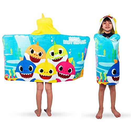 Franco Kids Bath and Beach Soft Cotton Terry Hooded Towel Wrap, 24 x 50, Baby Shark