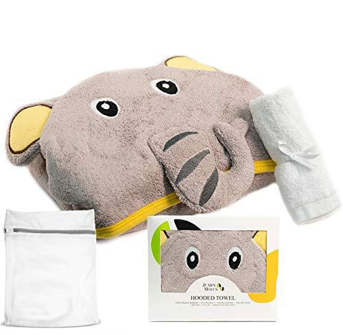 Accappatoio Biologico per Bambini (Salvietta & Sacchetto Portabiancheria Inclusi) | 100% Bambù, Ipoallergenico, Ultra Assorbente | Adatto a Neonati, Lattanti & Bambini (Elefante Felice)