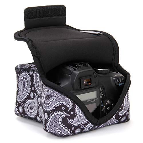USA Gear Funda Cámara Reflex DSLR con Protección de Neopreno, Presilla Para Cinturón y Almacenamiento de Accesorios - Compatible con Nikon D3400, Canon EOS Rebel SL2, Pentax K-70 y más - Paisley Negro
