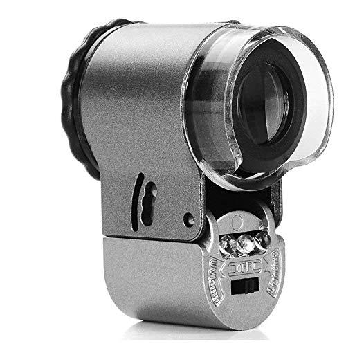 Handheldr Microscooploep, 50 x met ledlens voor het lezen van boeken, voor het identificeren van sieraden, horloges, knutselen en reparatie, zilver (36 x 48 mm vergrootglas