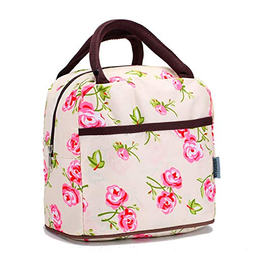 Small Insulated Lunch Bags For Women Girls Cooler Lunch Boxes For Teen Cute Resable Lunch Tote Bag For Picnic School Office Outdoor - Flower