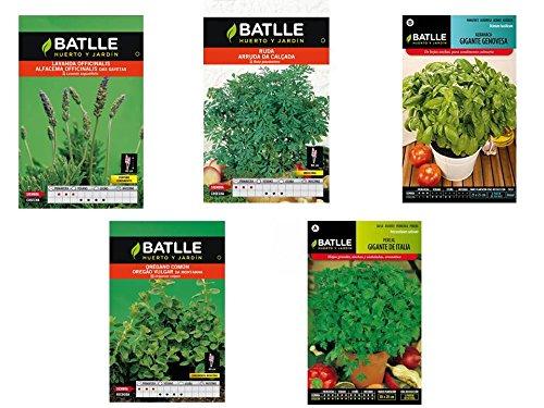 Lote 5 sobres de semillas aromáticas (Lavanda, Orégano, Perejil, Albahaca y Ruda)