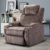 CANMOV Recliner Chair for Living Room, Manual Reclining Chair with 2 Cup Holders, Ergonomic Design Home Theater Single Sofa Chair, Camel
