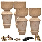 unfinished bun feet - 6 inch / 15cm Wooden Furniture Legs, La Vane Set of 4 Carved Geometry Solid Wood Unfinished Replacement Bun Feet with Mounting Plate & Screws for Sofa Cabinet Couch Table TV Stand
