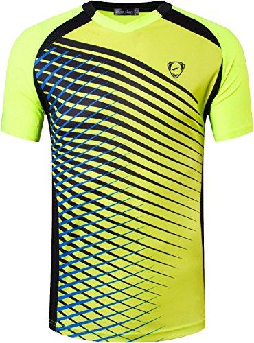 jeansian Herren Sportswear Quick Dry Short Sleeve T-Shirt LSL230 GreenYellow L