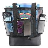 Idefair bolsa de playa de malla, bolsa de compras extragrande, reutilizable, para la playa, para la familia, picnic, para exteriores, con correa ajustable + 2 almohadillas para el hombro, 8 bolsillos