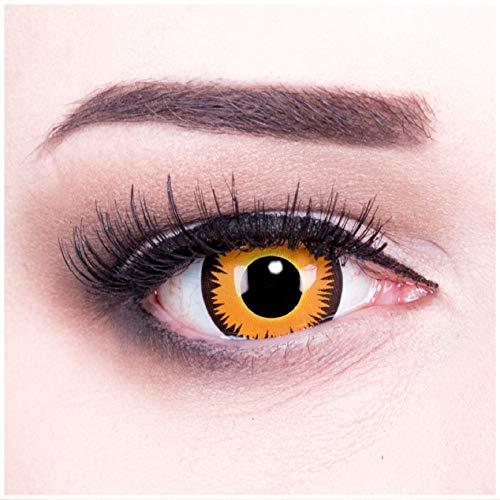Funnylens 1 Paar farbige Crazy Fun orange werewolf Jahres Kontaktlinsen. perfekt zu Halloween, Karneval, Fasching oder Fasnacht mit gratis Kontaktlinsenbehälter ohne Stärke!