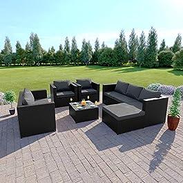 Abreo Salon de Jardin d'angle en rotin avec canapé, Fauteuil et Table Noir avec Coussin foncé
