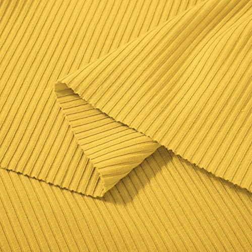 Puur katoenen effen stof, legging met pitkoord met schroefdraad, geribd katoen-Geel