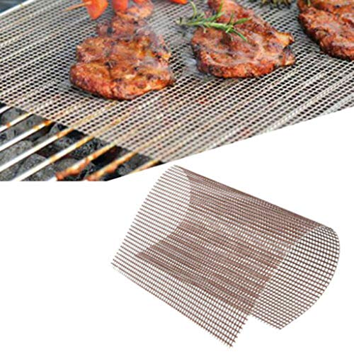 Find Discount BBQ Grill Mesh Mat Set of 2 - Non Stick Barbecue Grill Sheet Liners Pad Fiberglass Gri...