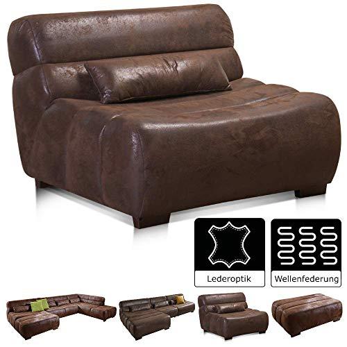 Cavadore Sessel Scoutano in Antiklederoptik / XXL-Sessel ohne Lehne im Industrial Design / Größe: 114 x 76 x 108 cm (BxHxT) / Bezug in Antik Chocco / Holzfüße in antik
