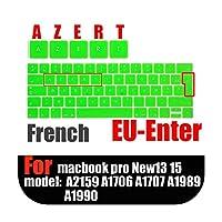 """フランス語版ラップトップキーボード保護フィルム防水For macbook touchbar13用15""""フランス語キーボードカバーシリコンケース-Green-"""