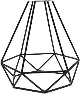Géométrique Pendentif Métal Lampe Garde Rétro Lumière Plafond Abat-Jour Fer Cage Vintage Abat Jour Industriel Acier Noir P...