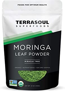 Terrasoul Superfoods Organic Moringa Powder, 12 Oz - Detox   Antioxidants   Immunity